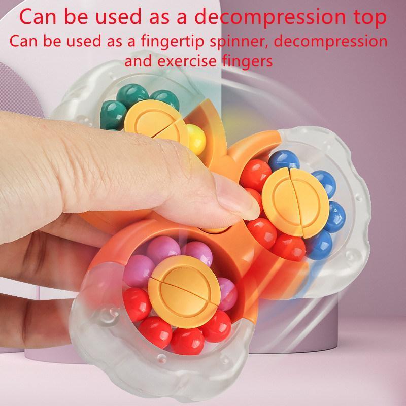 Dekompression Zappeget Spielzeug Das neueste Produkt, rotierender magischer Würfel, 3D-Kugelscheibe, Übungsfinger, leuchtende Fingerspitzen-Gyro, lindert Autismus und entlastet Stress