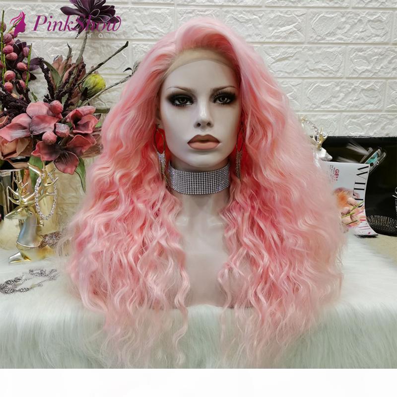 Pinja Pinkshow Pelucas rosas para las mujeres Peluca de Cosplay Onda profunda Lamera delantera de encaje de encaje de alta temperatura Pelucas de pelo de fibra de alta temperatura