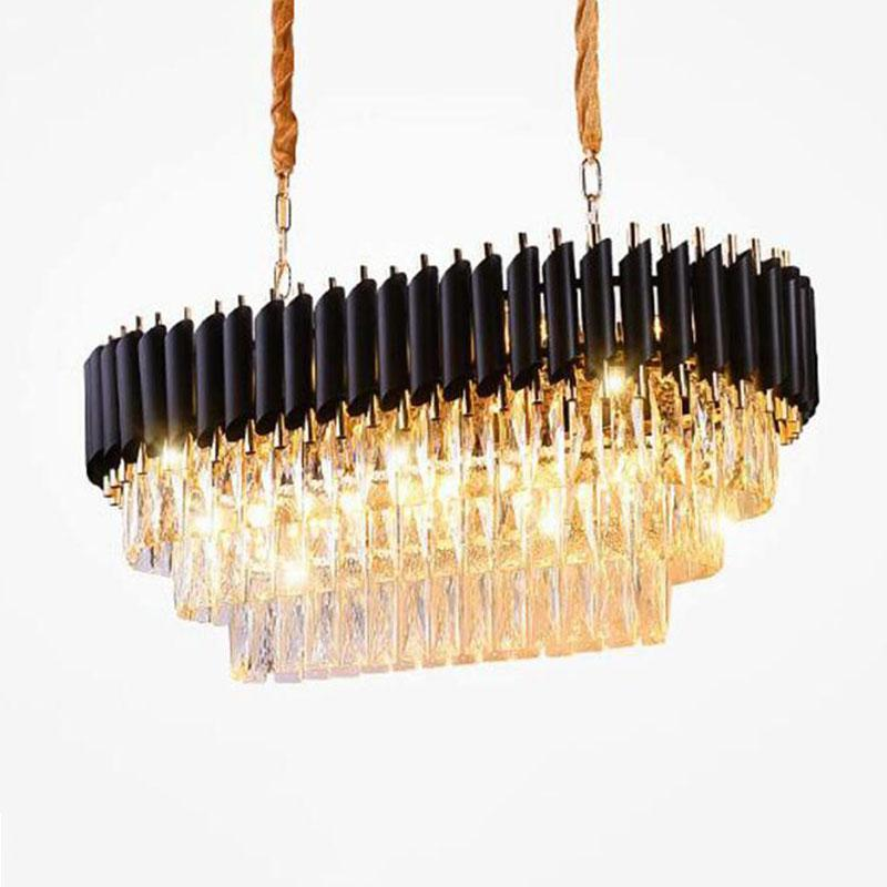 مصابيح قلادة من الكريستال الحديثة أضواء الثريا الجسم الأسود الفاخرة البيضاوي مطعم الثريات الإضاءة لفيلات الطعام غرفة المعيشة شقة فندق