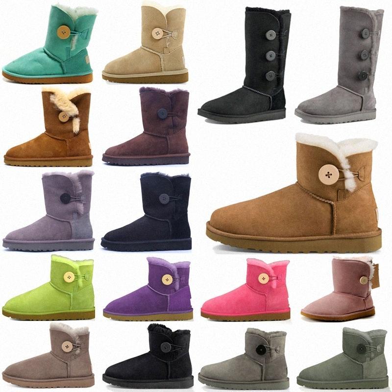 2021 Designer Classic Mini Kurz II Halten Sie Warme Boot Bailey Bow Hohe Button Triplet Australien Womens Frauen Winter Schnee Stiefel Pelz Pelz Australier Bootie v93k #