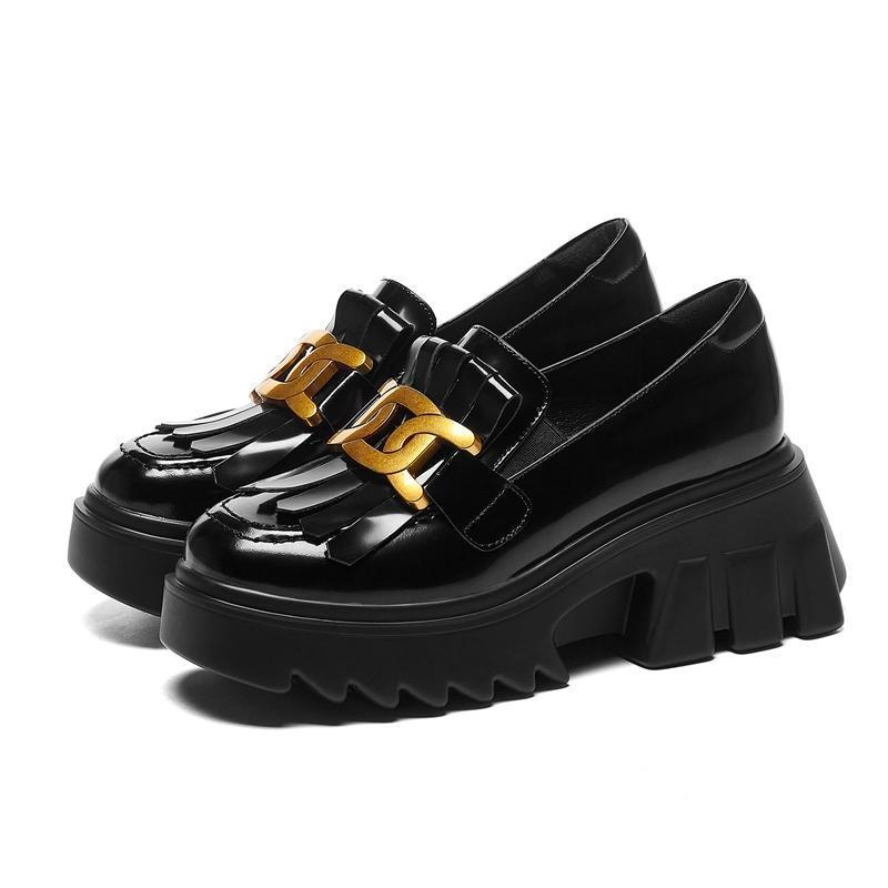 Moda İnek Deri Metal Platformu Yüksek Topuklu Rahat Bahar Ayakkabı Loafer Elbise Püskül üzerinde Kayma Kadın Pompalar