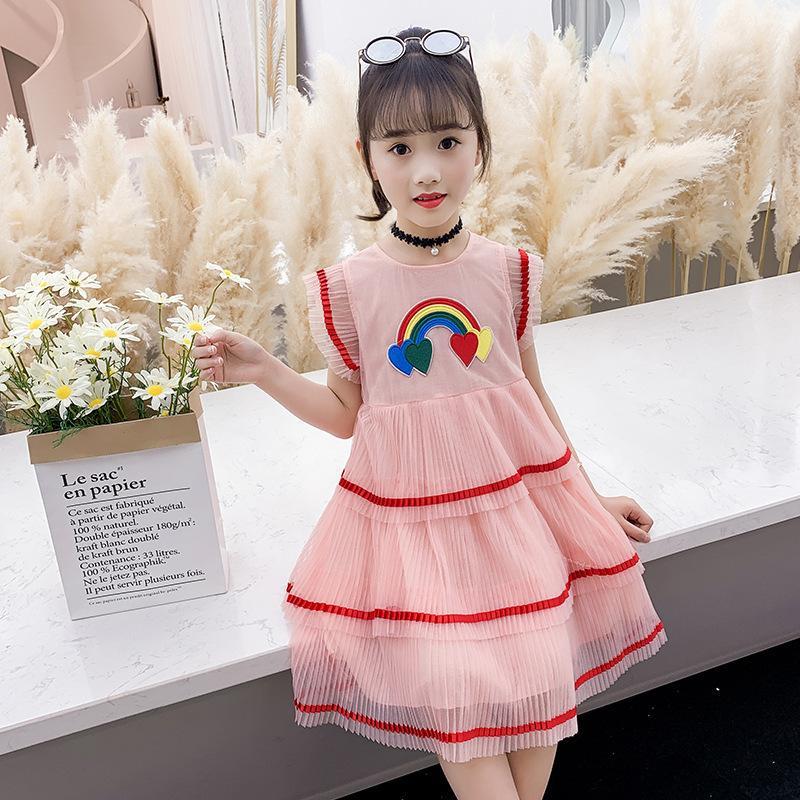 Humor Urso 2021 verão meninas vestido criança meninas 2021 algodão babados princesa colorida vestido bebê menina roupas de malha vestido de bolo 715 x2