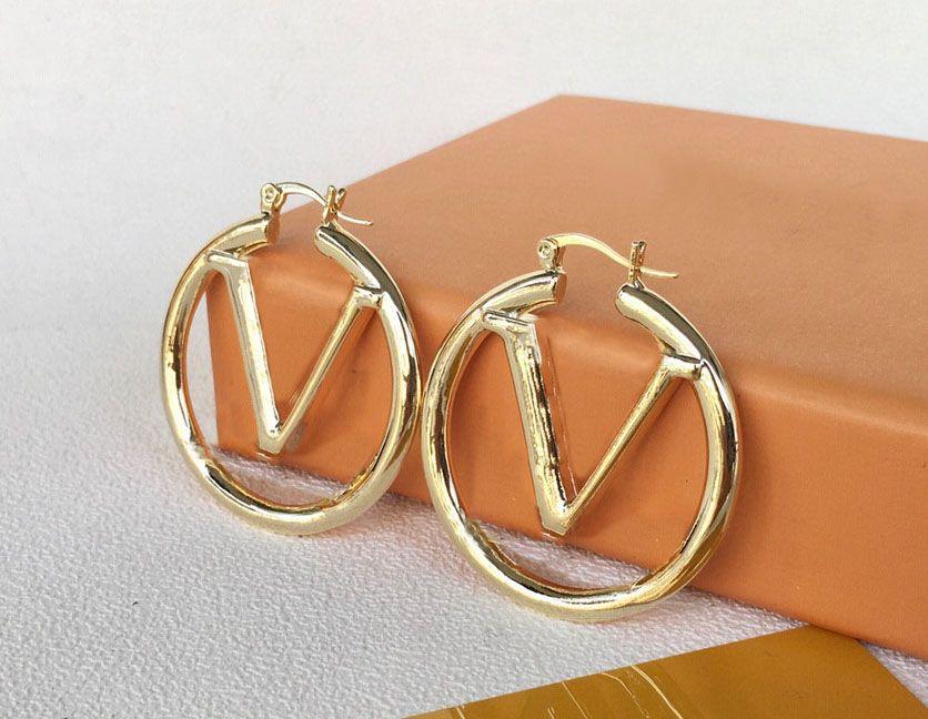 Mode Gold Creolen Ohrringe für Dame Frauen Party Hochzeit Liebhaber Geschenk Engagement Schmuck für Braut
