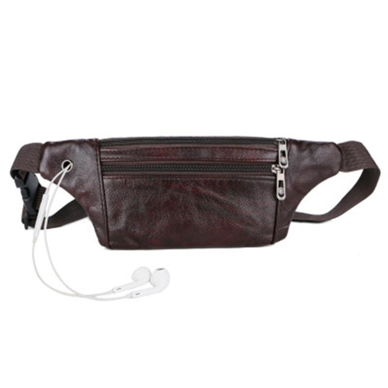 Deri Erkek Kemer Kılıfı Fanny Paketi Bel Çanta Debriyaj Çanta Rahat Unisex Moda Katı Fermuar Çanta