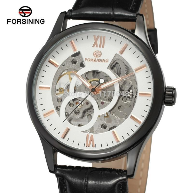 Mekanik İzle FSG8094M3B4 Tasarım Siyah Renk Kılıf Ile Gümüş Dial Gül Altın Barlar Dizin Deri Saatı