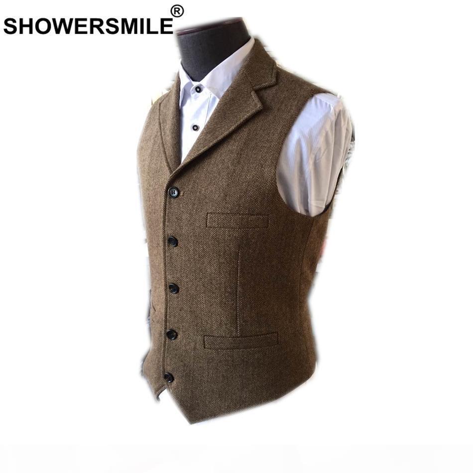 Showersmile Vestito Gilet uomo Lana Tweed British Style GiletCoat Brown Classic Slim Fit Herringbone Giacca senza maniche Plus Size 4XL