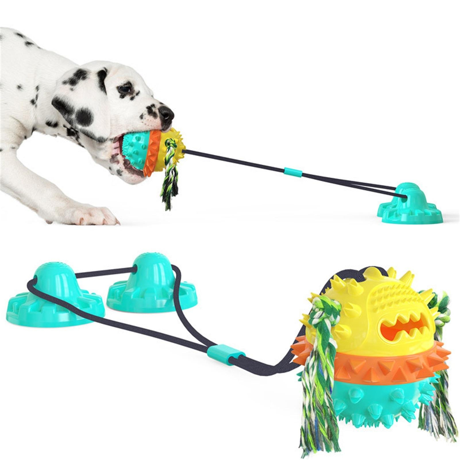 Pet Dog bowl molar ball with Durable Rope and Suction Cup Molars Bite Toy Pulling/Chewing/Teeth Cleaning Self Playing Tog for Dogs
