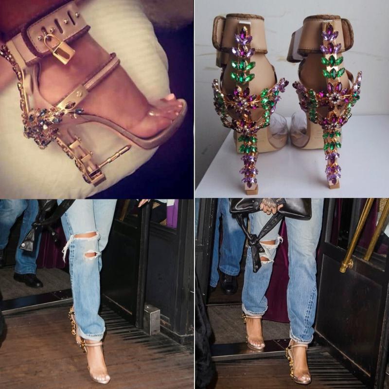 بيع تصميم الأوروبي ملون بلورات مرتفعة عالية الكعب الصنادل قفل مشبك زقزقة اصبع القدم المرأة الصيف الأحذية