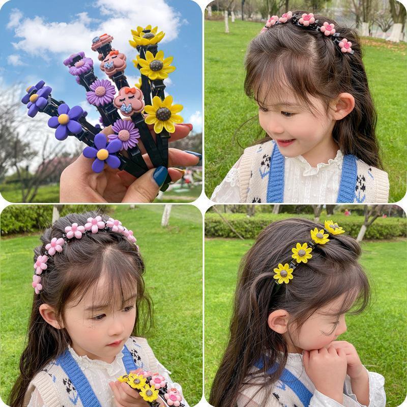 Девушки милый цветок двойные челки прическа плетеные волосы дети сладкие волосы орнамент повязки модные аксессуары