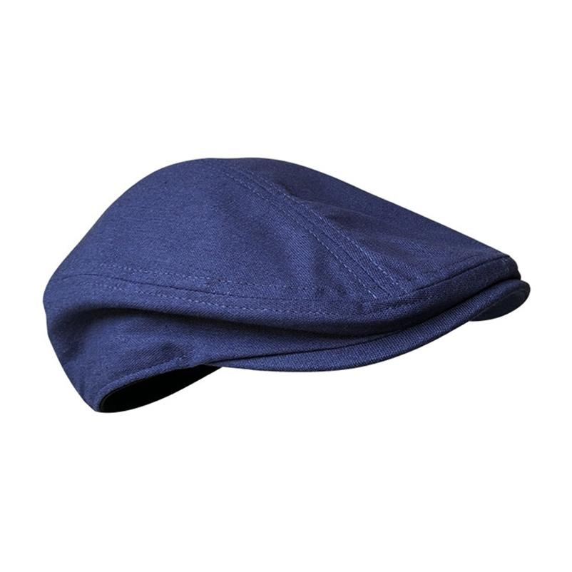 Bahar ve Yaz Casual Erkekler Düz Keten Bere Şapka Kadın Koyu Mavi Gri Nefes Kap Duckbill Sürüş Şapka Blm240 210429