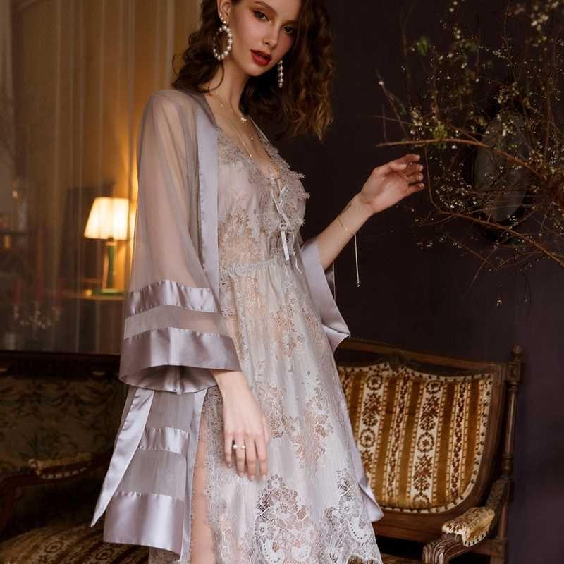 Günaha Mesh Saten Kimono Robe Gri Seksi Gecelik Bornoz Sabah Düğün Cornes Şeffaf Sexy Lingerie İç Giyim