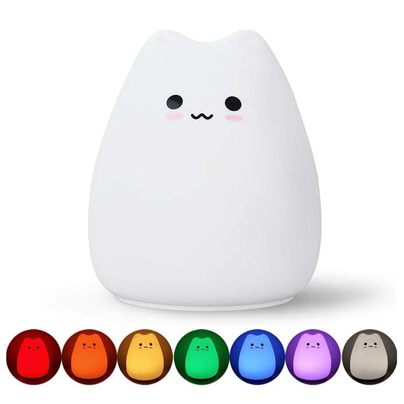 Topoch-Silikon-Touch-Sensor-LED-Nachtlampe dekoratives Schreibtisch Licht AAA-Batteriebetriebene Traum Nette Katze 7 Farben 2 Modi Nachtlicht für Baby