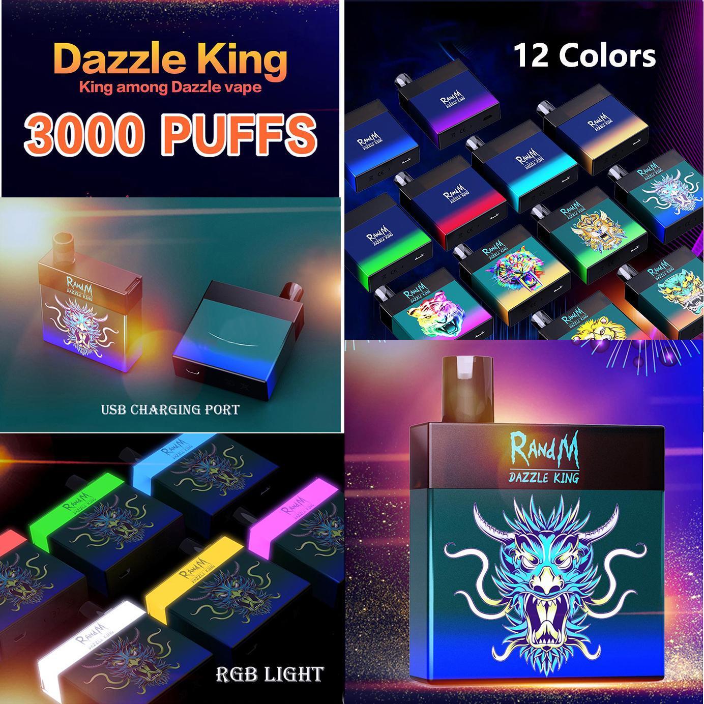 Original Randm Dazzle King 3000 Puffs Einweg-Gerät Kit 1100mAh Batterie Vorgefestigt 8ml Pods Vape Stick Pen Bunte LGB LED-Licht 12 Farben bar plus 100% authentisch