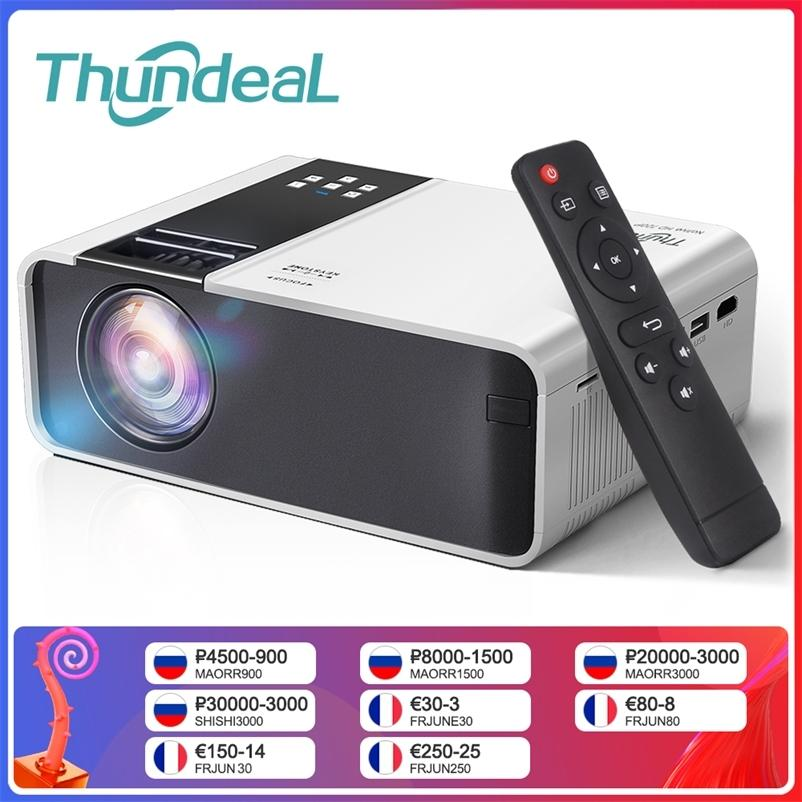 Thicheal hd mini proyector td90 nativo 1280 x 720p LED Android WiFi Video Home Cinema 3D Smart Movie Game Proyector 210609
