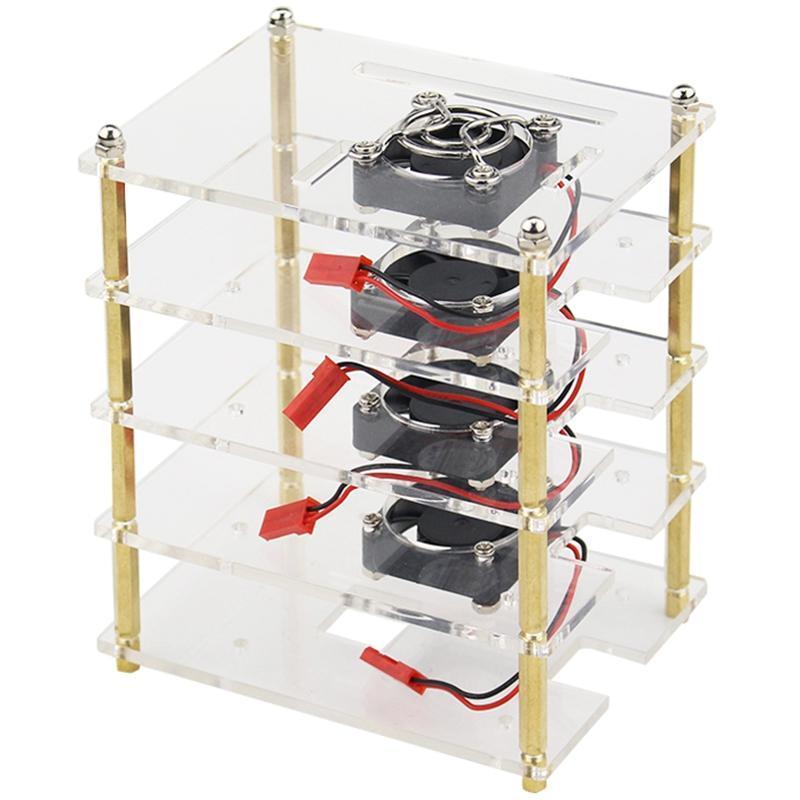 Ahududu Pi 4 Katmanlar için Akrilik Durumda Tutucu Kutusu + Metal Kapak ile Soğutma Fanı / 3 Model B + / 3B Laptop Pedleri