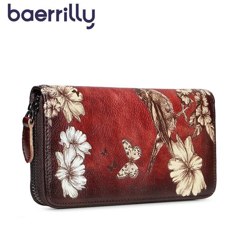 Кошельки натуральные кожаные женщины длинные сумки сцепления цветы женские и кошельки женские держатели карты RFID монета девушка