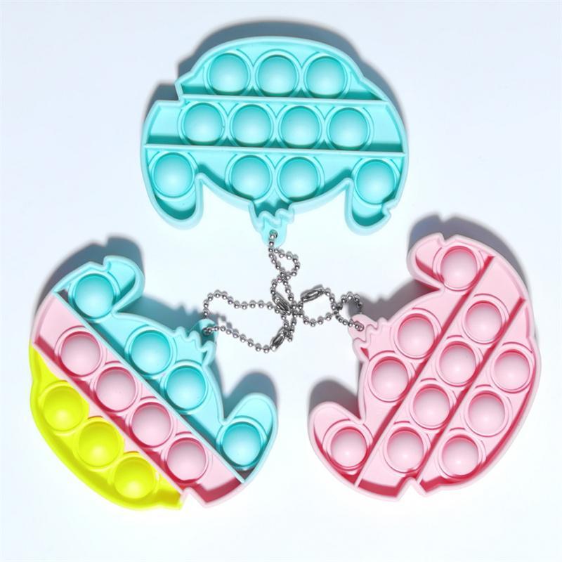 إلغاء ضغط اللعب الصغيرة سلسلة المفاتيح قلادة إصبع فقاعة الموسيقى قوس قزح اللون سيليكون
