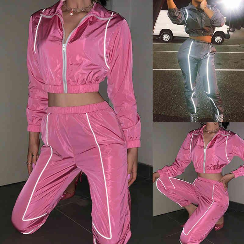 Vestito sportivo delle signore Tracksuit da donna con cappuccio corto Top lungo pantaloni adatti a due pezzi donne in esecuzione sport vestiti set Y185