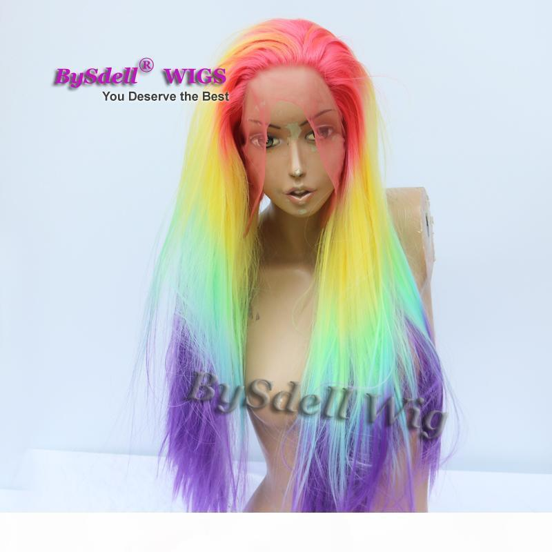 خمسة لهجة rainbow اللون أومبير شعر مستعار الاصطناعية طويل حريري مستقيم حورية البحر يونيكورن الشعر الدانتيل الجبهة الباروكة امرأة تأثيري حزب الباروكات