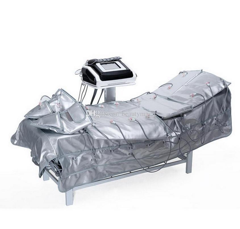 Touch Screen 3 em 1 pressão de pressão de pressão Prensaterapia Far Infravermelho de sauna de sauna envoltórios de estímulo muscular elétrico EMS máquina de emagrecimento
