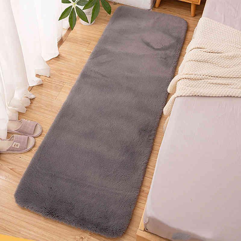 Carpet For Living Room Modern Soft Fluffy Rabbit Hair Plush Bedside Floor Mat Bedroom Decoration Washable Kids Furry Fur Rug