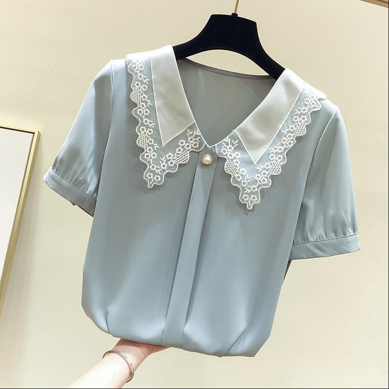 Spring Summer Style Chiffon Women Shirt Casual Short Sleeve Peter Pan Collar Blusas Tops ZZ0792