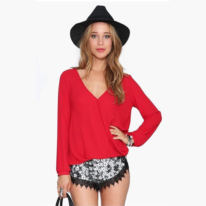 Summer Europe And The United States Women's Fashion Long-sleeve V-neck Casual Plain Color Chiffon Blouse Blouses & Shirts