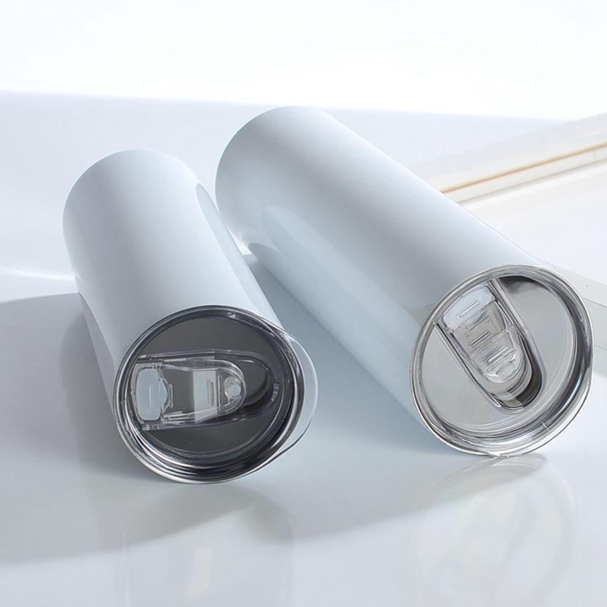 Tumbloni dritti a sublimazione 20oz Blank Skinny Cups con coperchio e cannucce di plastica Tazza di caffè in acciaio inox cyz3029