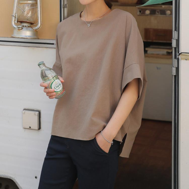 Korean Style Summer 2021 O Neck Half Pullover Solid Top Front Short Back Long Slit Cotton Casual Woman Tshirts Simple Women's T-Shirt