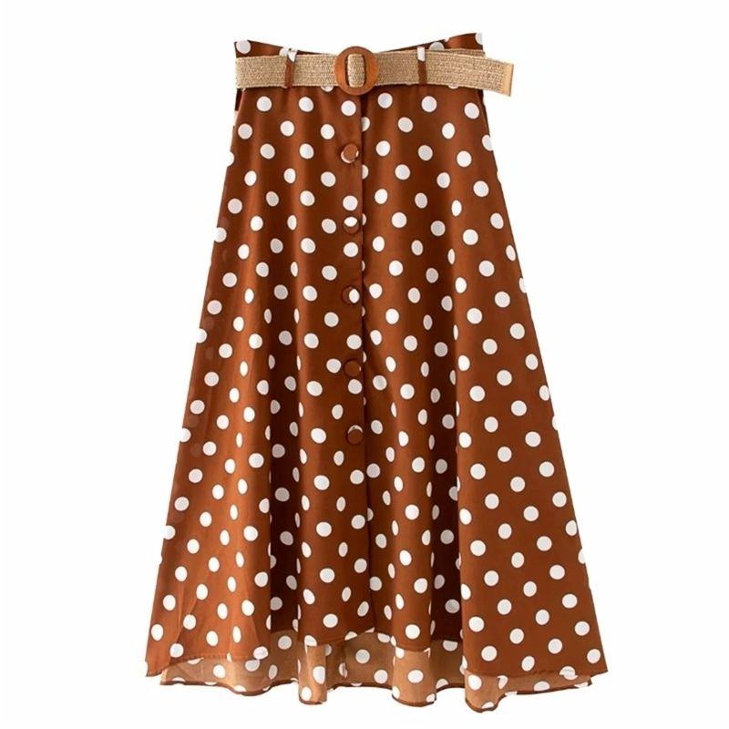 Donne vintage Polka Dots Stampa Bottoni Breasted Gonna Faldas Mujer Soddisfa le signore Chic Mid-Vitel A Line Gonne Qun602 210420