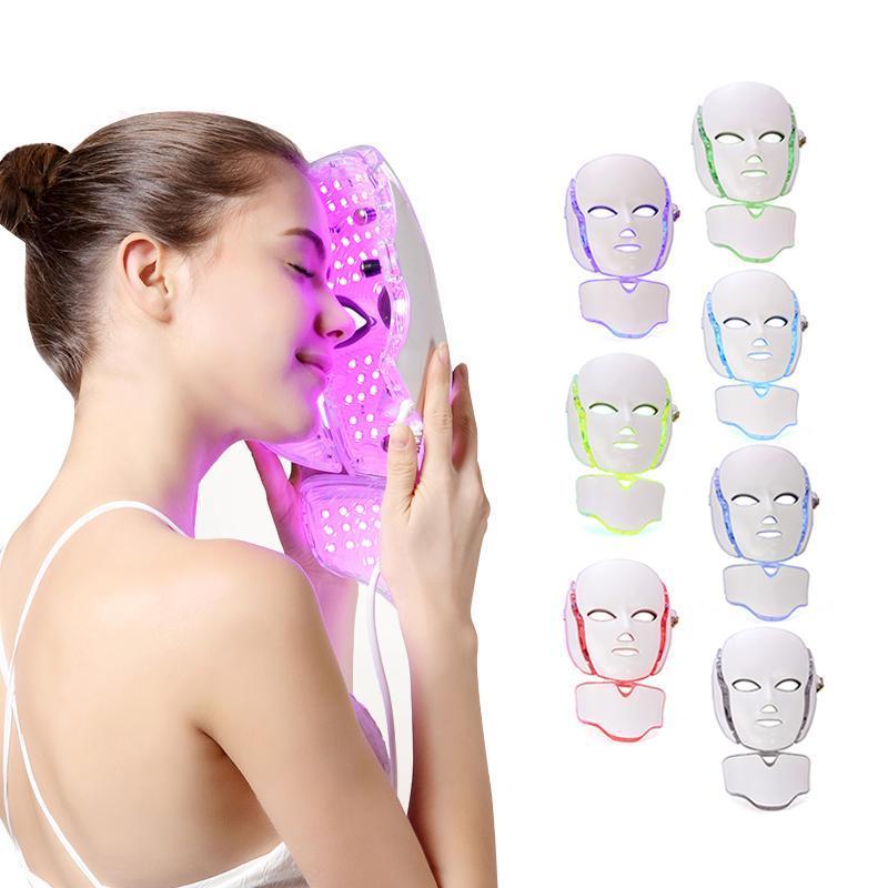 7 цветные светодиодные светотерапии лица для лица красоты машина для лица маска для лица с микротоком для уборки кожи отбеливающее устройство Бесплатная доставка