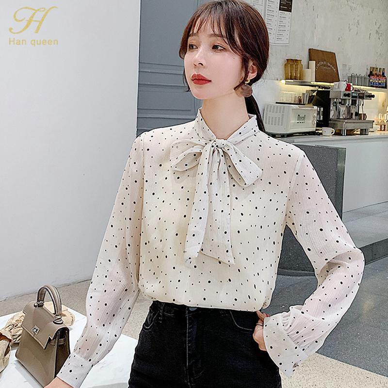 Han kraliçesi 2021 bahar zarif basit temel bluzlar kadın Kore tarzı nokta yay gevşek şifon gömlek ol ofis giymek iş üst kadın