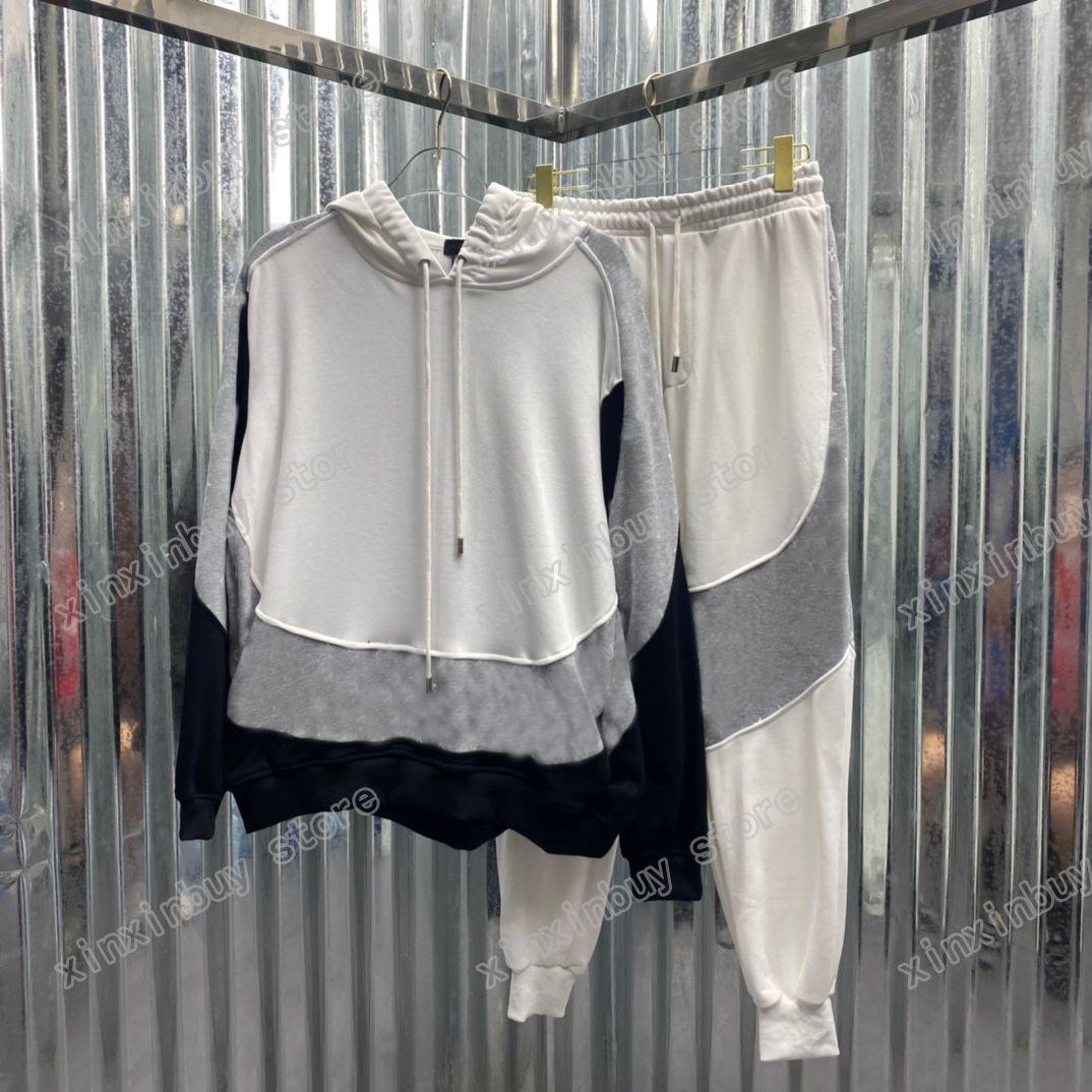 21SS Mens Donne Designer Designsuits Colore Split di colore Ricamo Lettera Via Streetwear Vento Vintage Tracksuit Uomo Designer nero grigio Xinxin