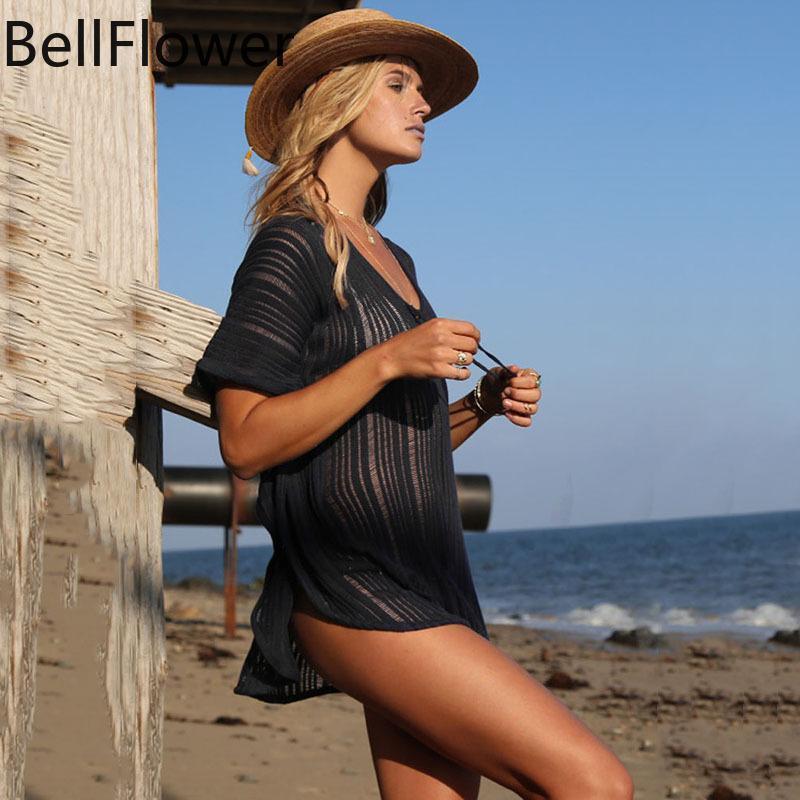 Mulheres Swimwear 2021 Algodão Sólido Sexy Beach Cobertura Vestidos Para As Mulheres Soltos Preto Ver através de Casual Simplicidade Tops Seaside Férias