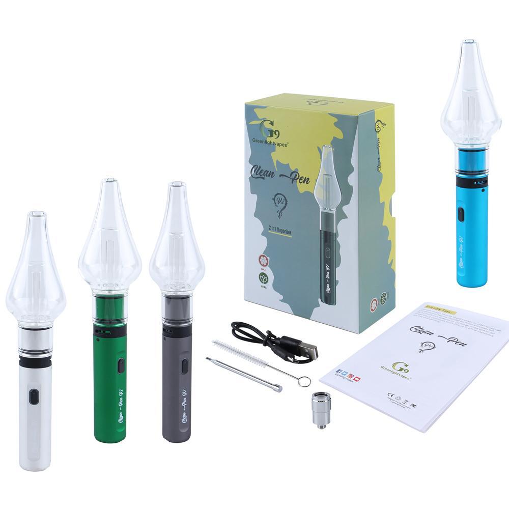 G9 Clean Pen V2 Cera Atomizador 2in1 Canetas Vaporizador Kits Starter Kits Seco Herb Dab Rig Bong E-Cigarros Vape Cartuchos 1000mAh Bateria de Tensão Ajustável