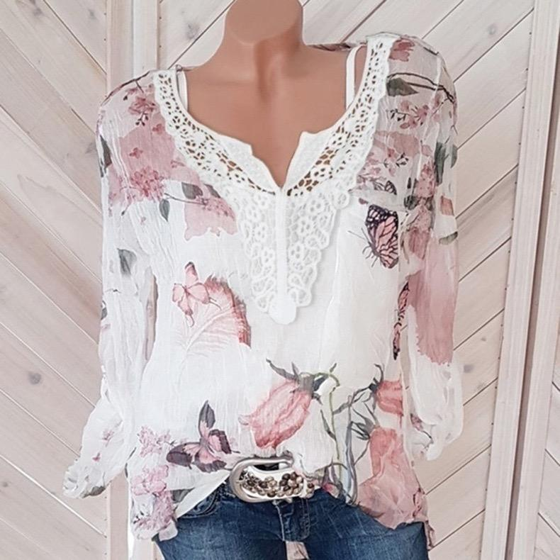 V-neck Size S-4XL T Shirt Designer Floral Printing Summer Beach Short Sleeve Chiffon High Quality Women's