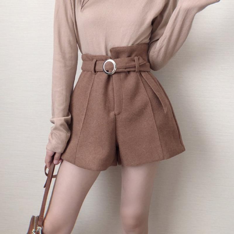 Шорты шерстяные ремень теплые женщины осень зима утолщены мода высокая талия A-Line широкие ботинки для ног девочек элегантные брюки