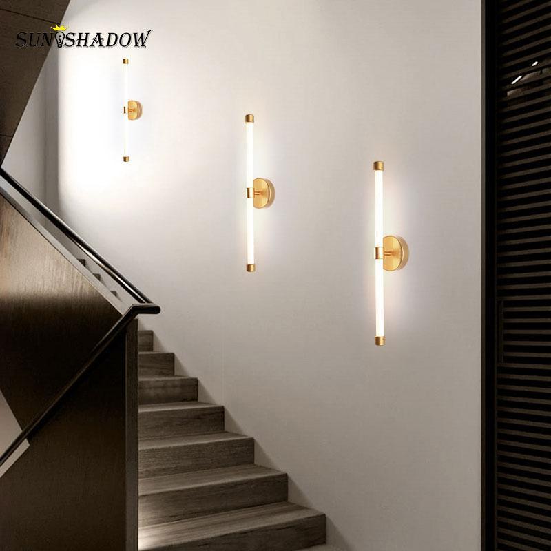 거실 침실에 대 한 홈 현대 벽 램프 식당 레스토랑 빛 실내 장식 LED 광택 블랙 골드 프레임