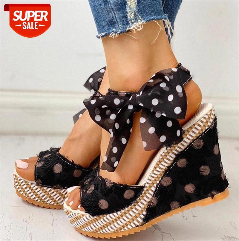 Women Sandals Dot Bowknot Design Platform Wedge Female Casual High Increas Shoes Ladies Fashion Ankle Strap Open Toe #fQ7P