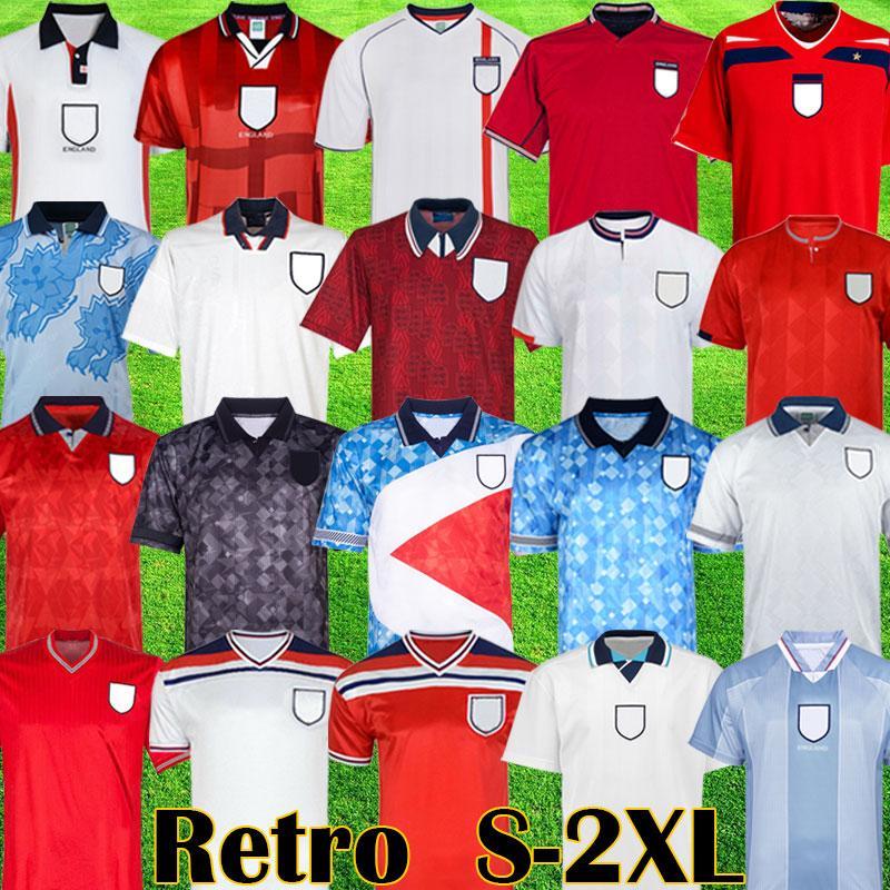 레트로 클래식 1990 1992 1994 1998 2002 월드컵 잉글랜드 축구 유니폼 블랙 아웃 키트 Mash 1980 1982 1989 Vintage 1996 Beckham Gascoigne Owen Gerrard 축구 셔츠