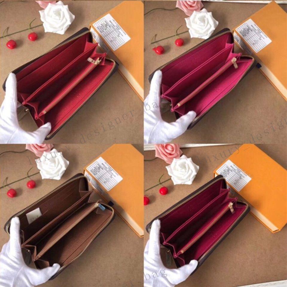 검은 편지 꽃 갈색 점검 긴 지퍼 지갑 신용 카드 지갑 멀티 기능 화이트 그리드 정품 가죽 지갑 패션