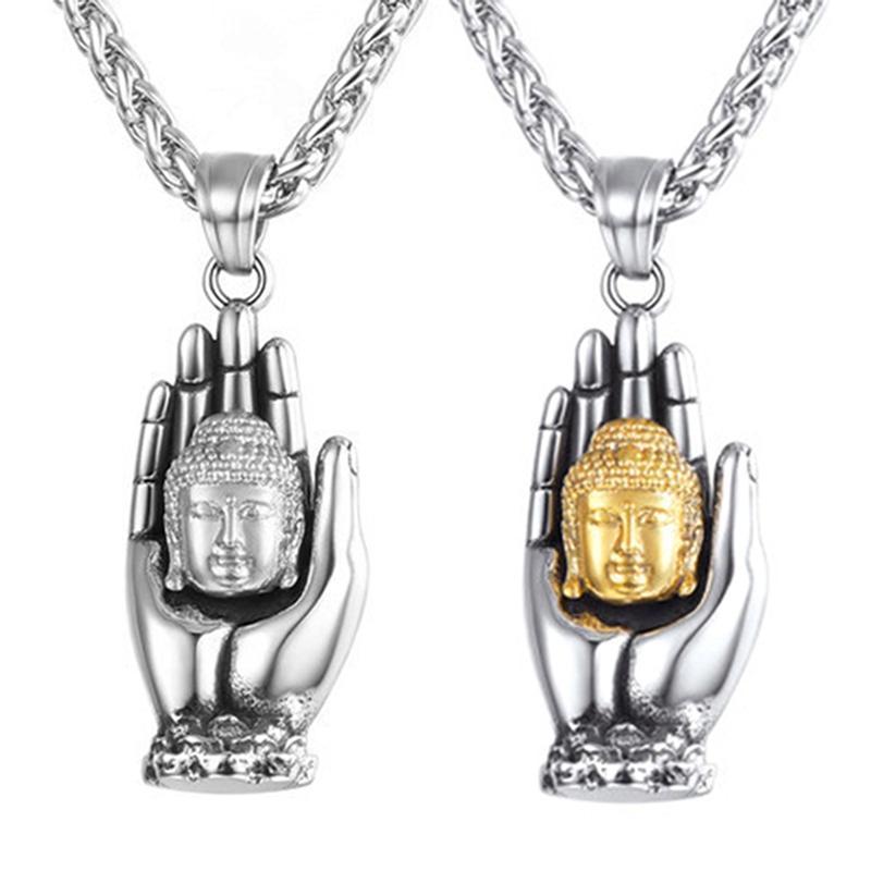 Collier Bouddha Hommes Main Palmètres Pendentif Pendentif Tendance Colliers pour femmes Cadeaux Grossistes