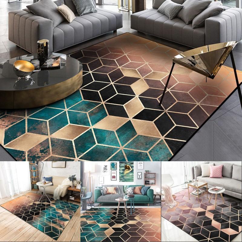 Fashion Nordic Gradual Shading Green Golden Diamonds Print Door/Kitchen Mat Living Room Bedroom Parlor Area Rug Decor Carpet 467 V2