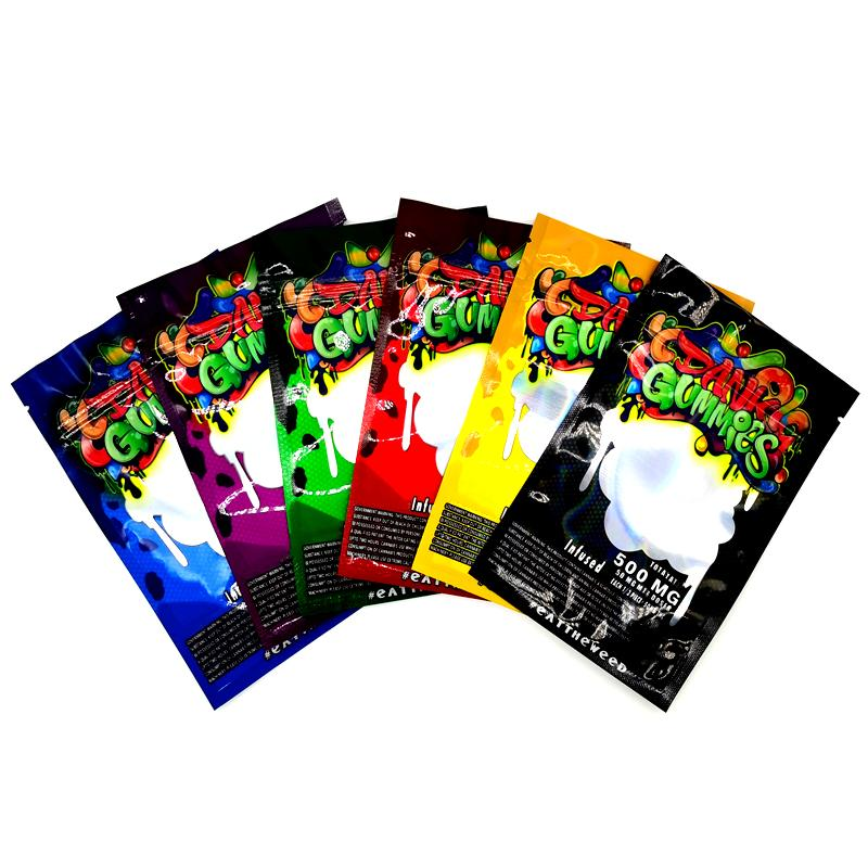 Dank Gummies Mylar Bag 500mg Edibles 소매 포장 6 스타일 냄새가 지퍼 가방