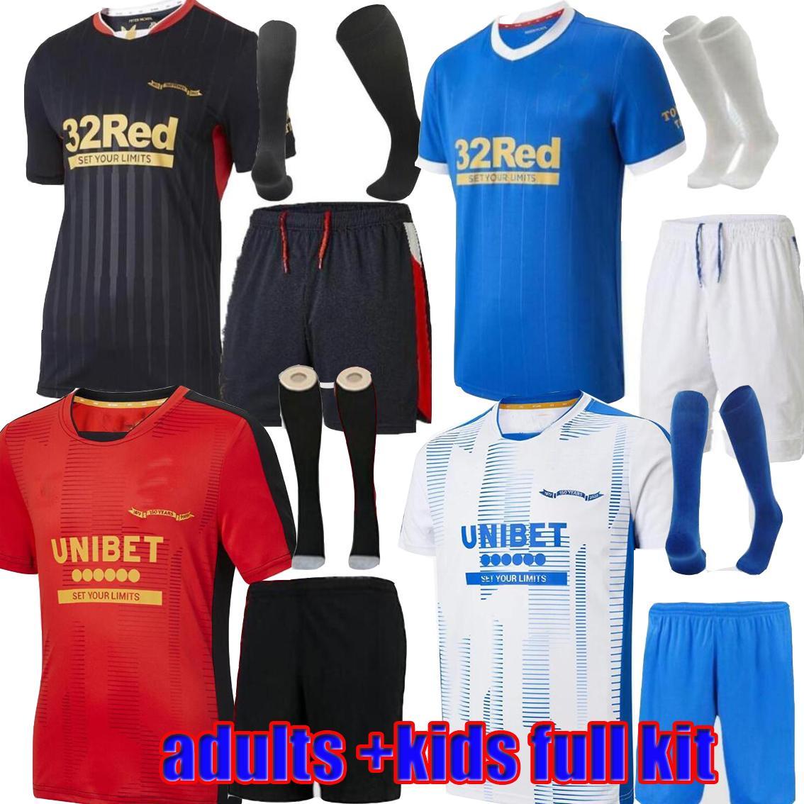 Rangers 21 22 Jerseys de football 150e Anniversaire Domicile Troisième Glasgow Formation Defoe Hagi Barker Morelos Tavernier 2021 2022 Adultes + Kit Kit Kit Maillot Football Shirt