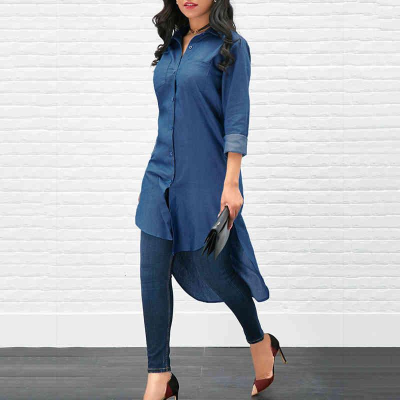 Trendy Women clothes Denim Button Solid Long Sleeve Blouses turn-down collar pocket Casual Polyester Shirts one pieces