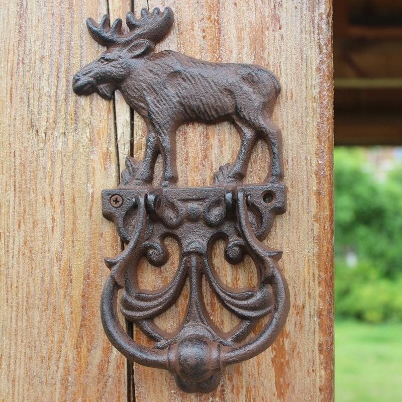 2 Pieces Rustic Cast Iron Elk Moose Decorative Door Knocker with Handle Traditional Vintage Style Doorhandle Doorlatch Country Gate Home Decor