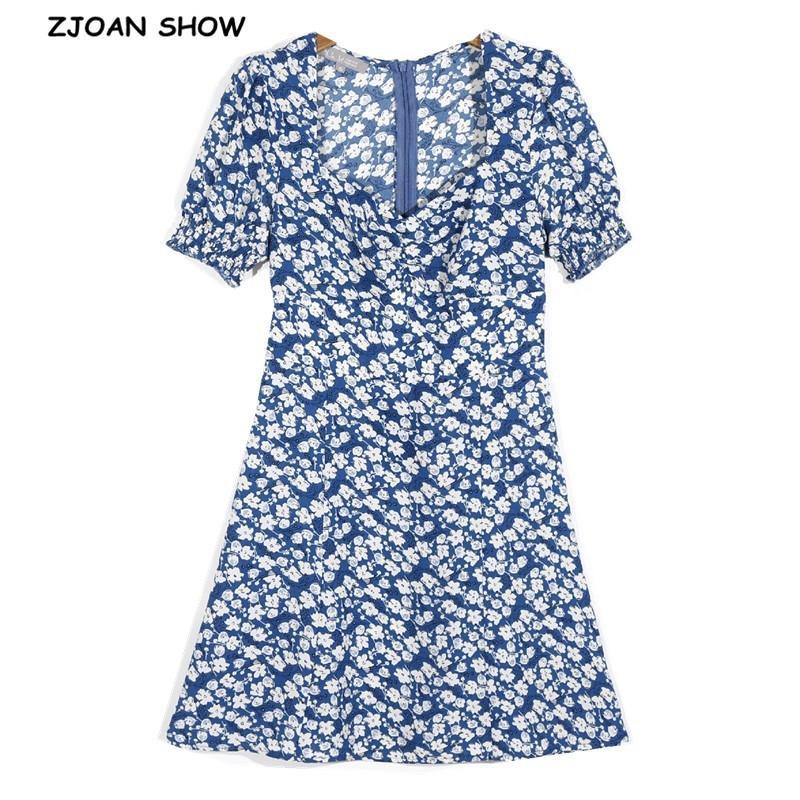Summer Collier Square Collier à manches courtes Robe d'impression florale Français Forfait Hips une ligne élégante Femmes robes de fête Slim Fit Vestido 210414