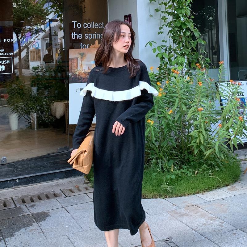 긴 니트 스웨터 드레스 가을 겨울 오 - 목 ruffled 히트 색 무릎 드레스 여성 캐주얼 느슨한 검은 풀오버 2021