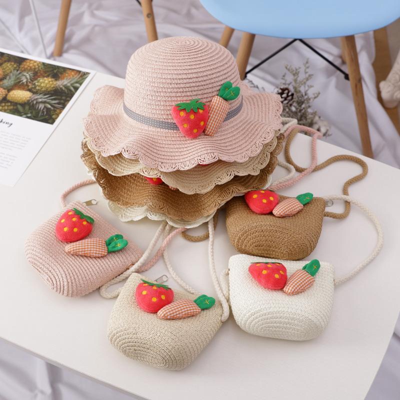 Ins Girl Weaving Handbags Match Hat Plaid Bow Shoulder Youth Beach Casual Messenger Bag